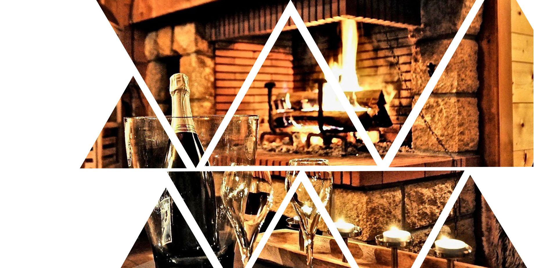 photo de la cheminée de l'hôtel avec fond sur polygone